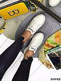 Женские кроссовки кеды из натуральной кожи, дышащая перфорация, пудра, белые, бежевые, фото 4