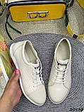 Женские кроссовки кеды из натуральной кожи, дышащая перфорация, пудра, белые, бежевые, фото 7