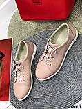Женские кроссовки кеды из натуральной кожи, дышащая перфорация, пудра, белые, бежевые, фото 3