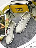 Женские кроссовки кеды из натуральной кожи, дышащая перфорация, пудра, белые, бежевые, фото 8