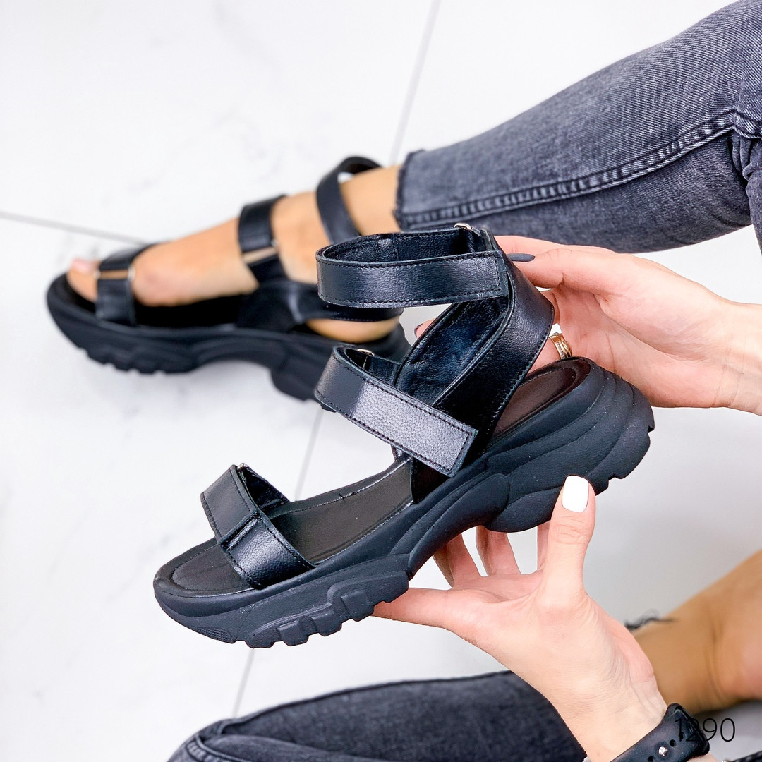 Сандалии черные натуральная кожа на липучках
