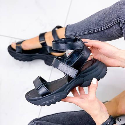 Сандалии черные натуральная кожа на липучках, фото 2