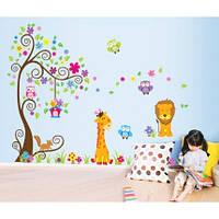 """Интерьерная виниловая наклейка на стену в детскую """"Зверята JM7251"""""""