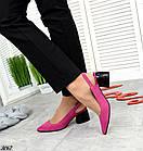 Женские туфли цвета фуксия, натуральная замша + кожа под рептилию(в наличии и под заказ 3-14 дней), фото 2