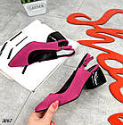 Женские туфли цвета фуксия, натуральная замша + кожа под рептилию(в наличии и под заказ 3-14 дней), фото 3