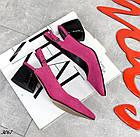 Женские туфли цвета фуксия, натуральная замша + кожа под рептилию(в наличии и под заказ 3-14 дней), фото 5