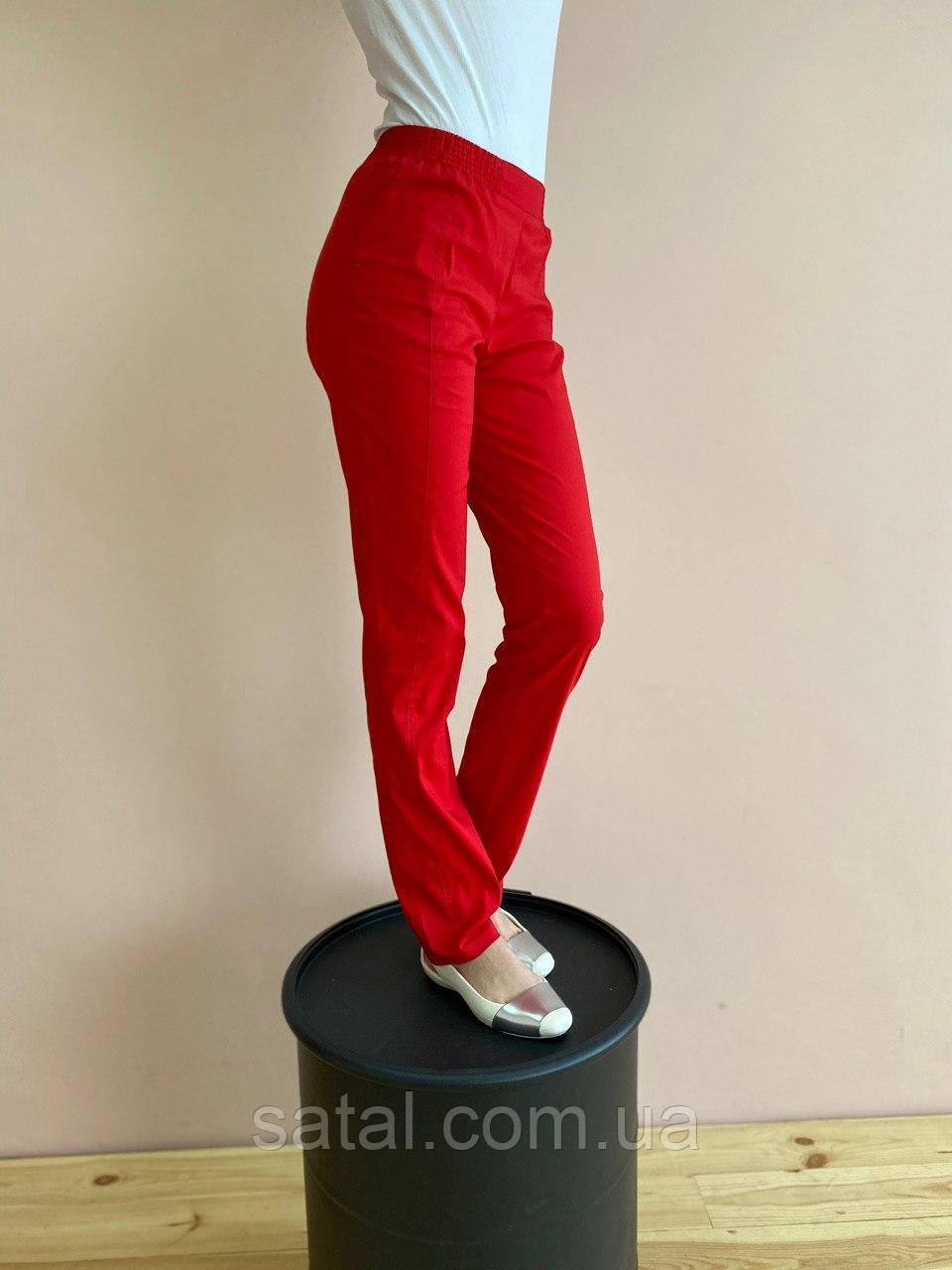 Штаны медицинские Слимс. Красный. Стрейч легкий. Саталь