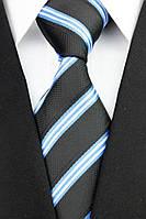 Черный галстук с бело-синей полоской, фото 1