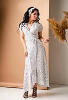 Белое летнее льняное платье-макси с принтом в черный горох размер 42,44,46,48,50,52