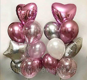 Композиция для девушки с сердцами и звездами в розово серебряном цвете