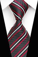 Черный галстук с белой и красной полоской