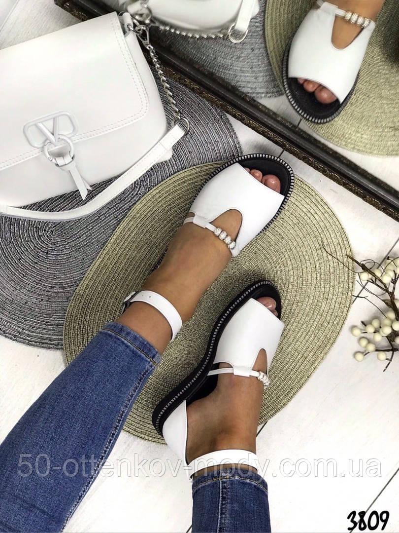 Женские шикарные сандалии босоножки с ремешком и бусинками из натуральной кожи, много цветов