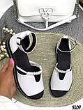 Женские шикарные сандалии босоножки с ремешком и бусинками из натуральной кожи, много цветов, фото 3