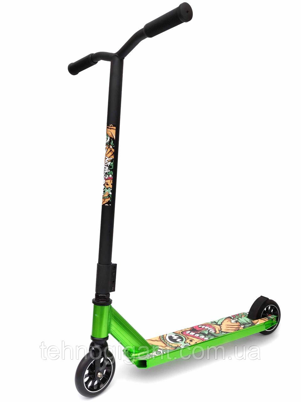 Трюковый Самокат отScooter–Aluminium Stunt 060Y, 110 мм Зеленый , колеса литые алюминий /полиуретан