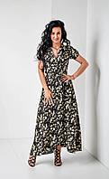 Летнее длинное платье из штапеля с цветочным принтом длини макси размер 44, 46, 48, 52