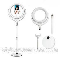 Кольцевая лампа F539A led, лампа селфи косметологическая на подставке USB с креплением для телефона белая