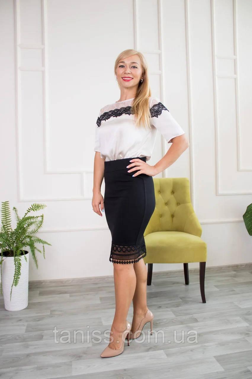 "Женская юбка карандаш "" Ассоль"",ткань трикотаж Алекс, р-р 44,46 48,50,52,54,черная, спідниця"