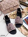 Жіночі шикарні босоніжки, сандалі з висюлькой з натуральної шкіри, багато квітів, фото 5