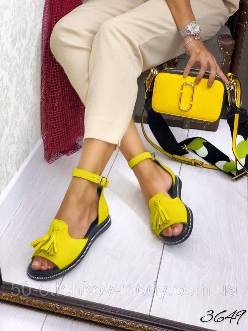 Жіночі шикарні босоніжки, сандалі з висюлькой з натуральної шкіри, багато квітів