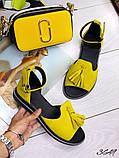 Жіночі шикарні босоніжки, сандалі з висюлькой з натуральної шкіри, багато квітів, фото 2