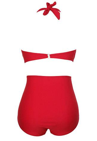 Купальник раздельный халтер с высокой талией большие размера красный, фото 2