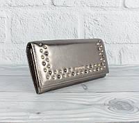 Кожаный кошелек Prensiti 172-2941 бронзовый на кнопке, монетница внутри, фото 1