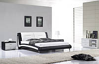 Кожаная двуспальная кровать Sonata Mobel B208 Черно-белая, КОД: 1563939