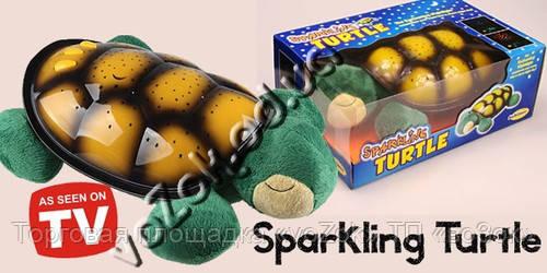 Музыкальный проектор звездного неба ночник-светильник Черепаха SparKling Turtle с USB кабелем