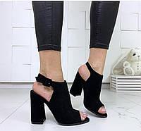 Женские замшевые босоножки на каблуке, ОВ 1297 ст, фото 1
