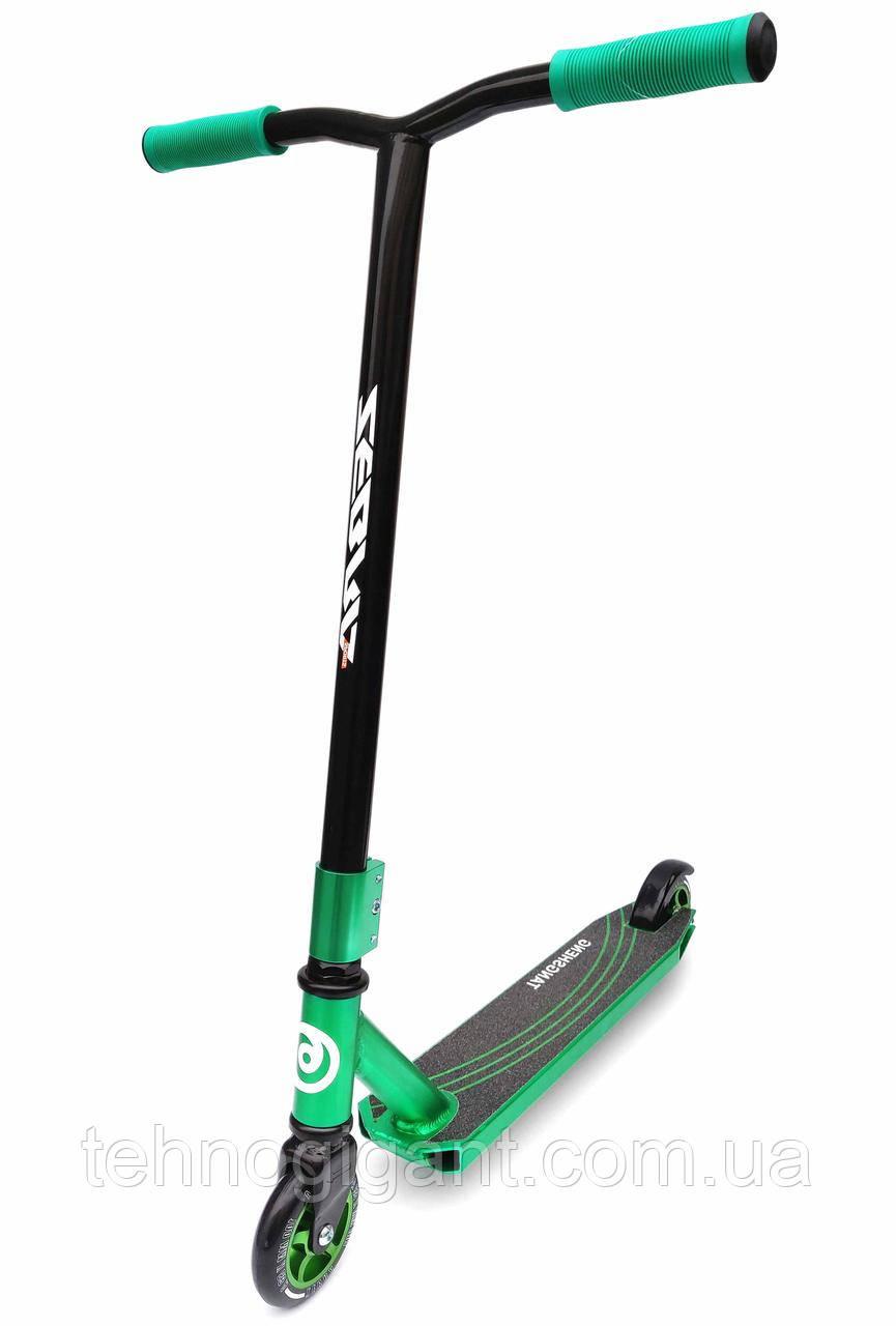 Трюковый Самокат отScooter–Zebra Sport 100 мм Зеленый , колеса литые алюминий /полиуретан