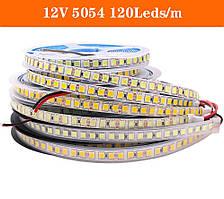 Светодиодная лента smd 5054 120led/м 12v ip20 белый премиум на синем термоскотче
