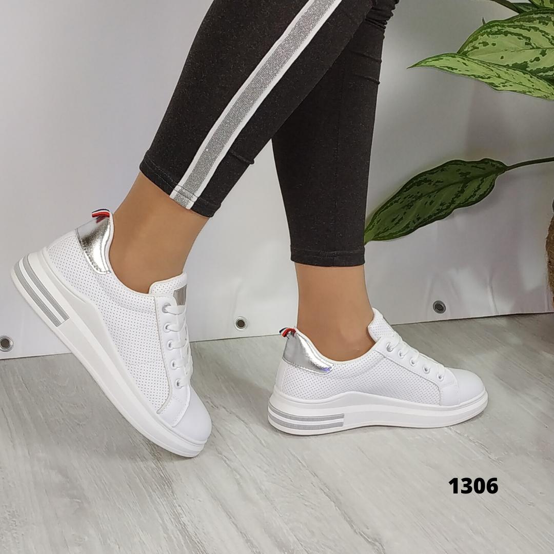 Женские белые кроссовки с перфорацией, ОВ 1306