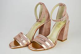 Босоножки на каблуке 10см Lirio 0129 Пудра замша