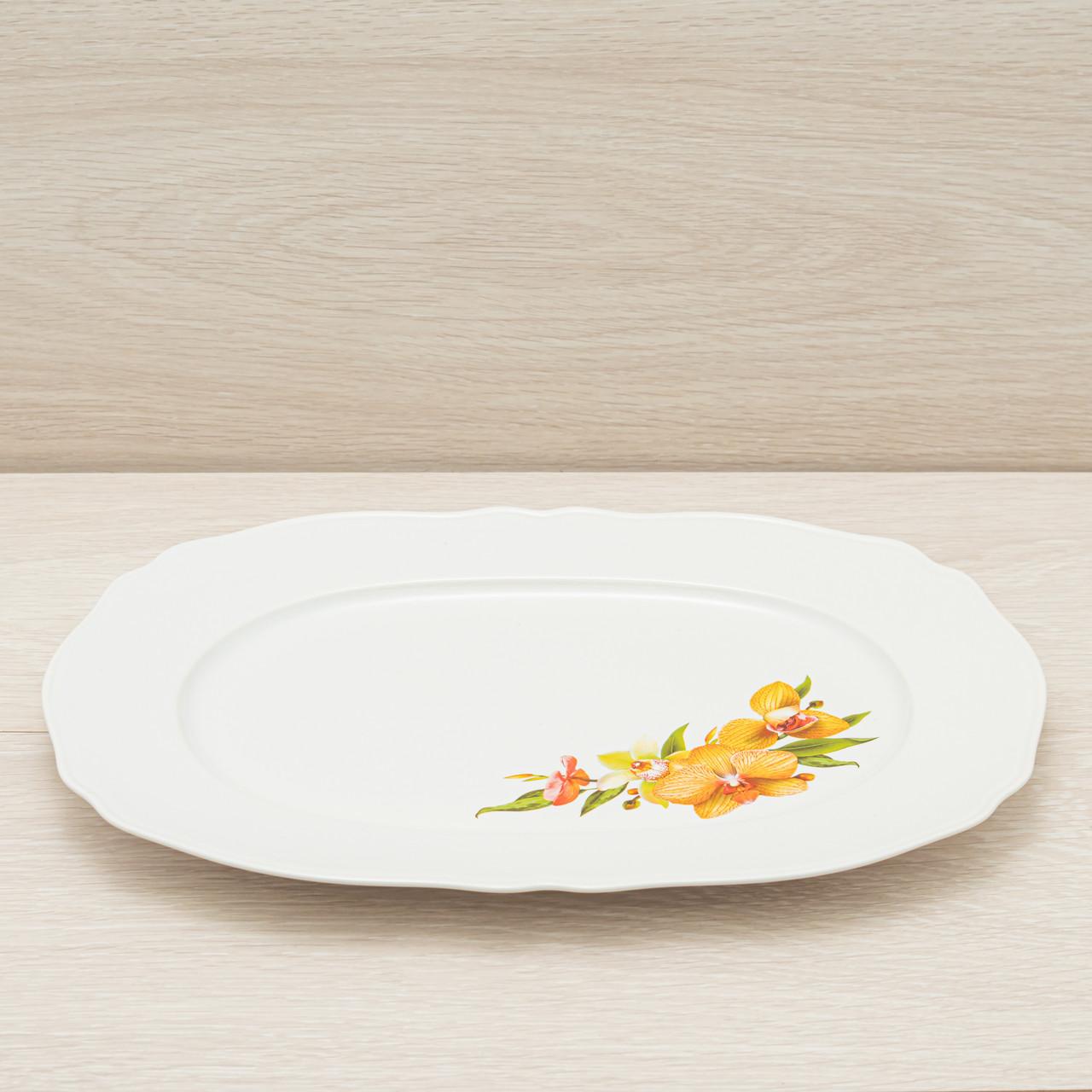 Блюдо белое с деколью 36см
