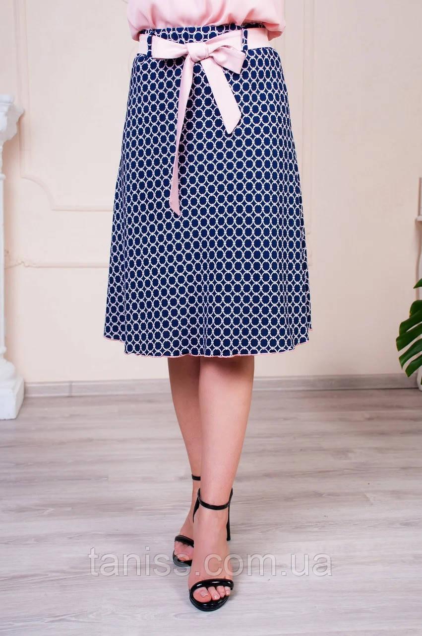 "Женская, летняя юбка "" Инесса"",ткань софт, р-р 46,48,50,52,54,56 синий, спідниця"