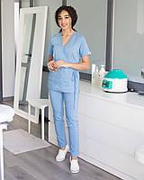 Медицинский костюм Рио голубой, из тонкой ткани, фото 1
