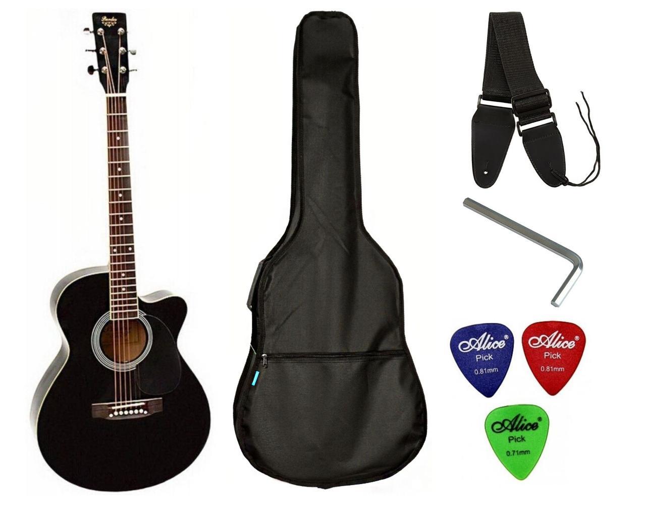 Набор акустическая гитара Bandes AG-851C BK 39+ чехол+ремень