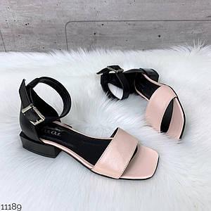 Розово-черные босоножки натуральная кожа средний каблук 38