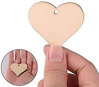 Деревянные сердца с отверстием 50 шт для свадебных пожеланий 4см