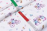 """Ткань сатин """"Весенние зайчики на велосипеде сиренево-бирюзовые"""", №2744с, фото 2"""
