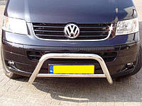 Защита переднего бампера Volkswagen T5 (2010+) (фольксваген Т5 /т6) (wt006) без зубьев. нерж