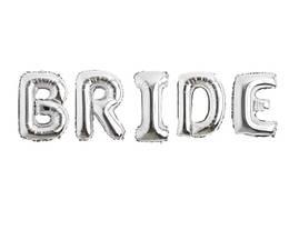 Набор надувных фольгированных букв BRIDE серебро