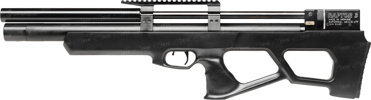 Пневматическая винтовка PCP Raptor 3 Standart Plus 4.5мм 28 Дж черный с чехлом
