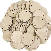 Бирка деревянная круглая с 2 отверстиями, кружочки деревянные .