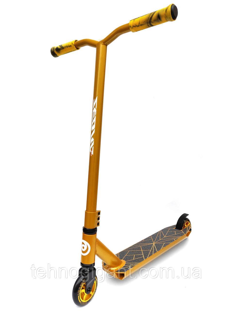 Трюковый Самокат алюминиевый отScooter–Golden HIC 100 мм Золотой , колеса литые алюминий /полиуретан