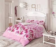 Постельное бельё двуспальное ранфорс 200х220 Gokay Manolya розовый с цветами магнолии.