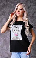 Женская футболка с принтом из трикотажа Poliit 3004-3