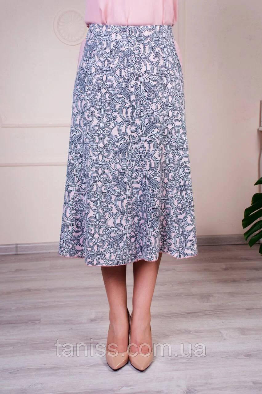 """Женская, летняя юбка """" Тая №2"""",ткань  софт, р-р  52,54,56,58,60,62  , серый с розовым, спідниця"""