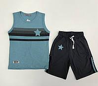 Костюм для мальчика голубая майка и шорты 116, 122, 128
