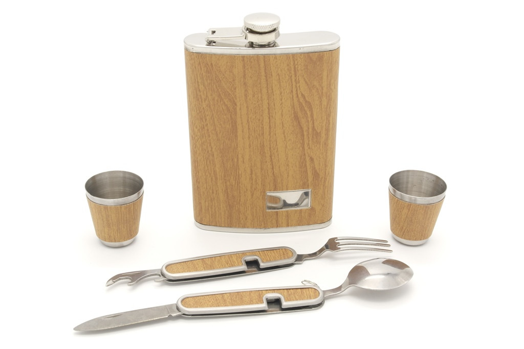 Фляга плоска з чарками + ложка, виделка, ніж і відкривачка 09-HF